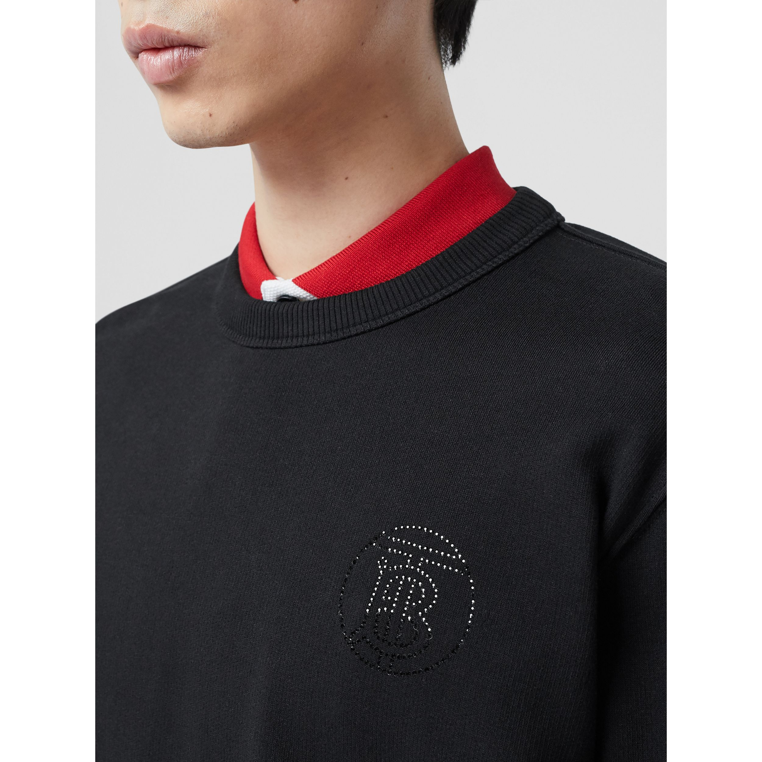 Crystal Monogram Motif Cotton Sweatshirt in Black - Men | Burberry - 2