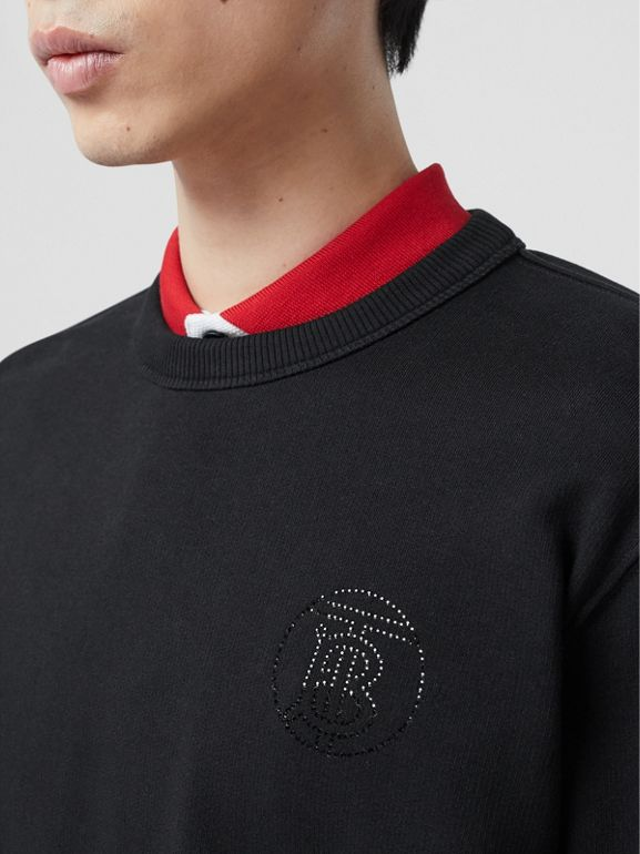 Crystal Monogram Motif Cotton Sweatshirt in Black - Men | Burberry Hong Kong S.A.R - cell image 1