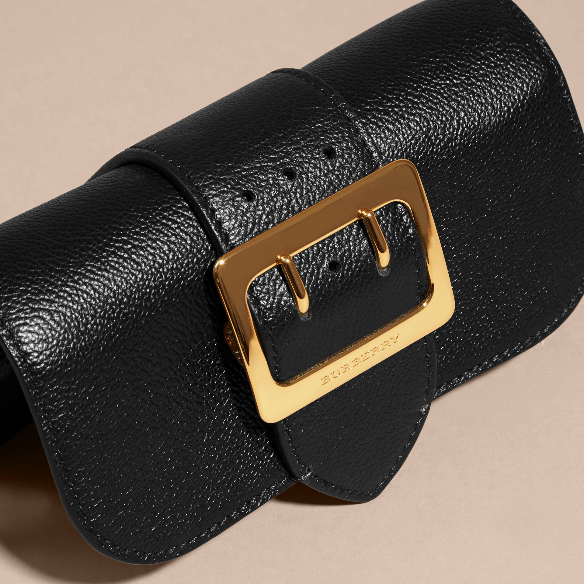 Black The Mini Buckle Bag in Grainy Leather Black - gallery image 5