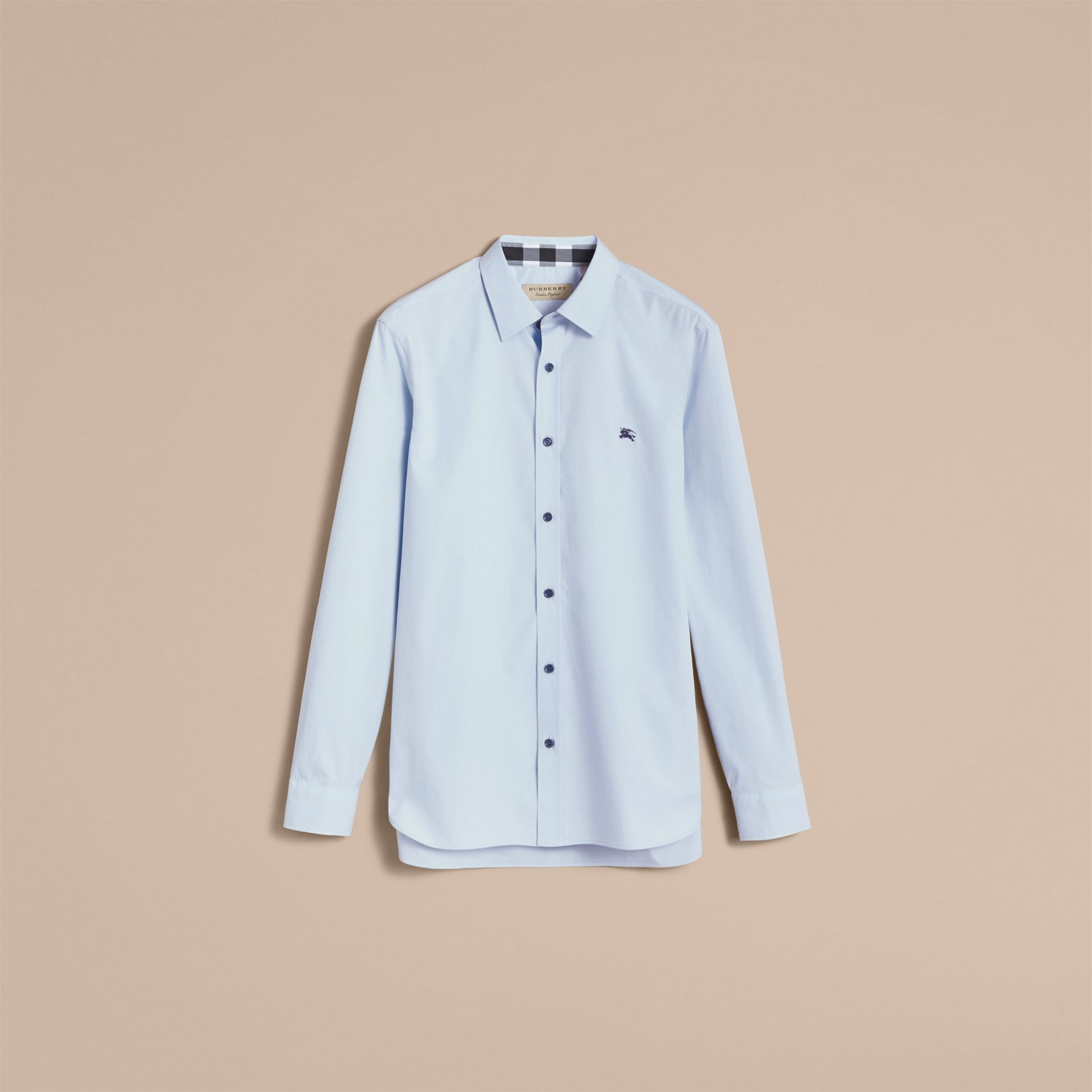 Resin Button Cotton Poplin Shirt in Pale Blue - Men | Burberry - gallery image 4