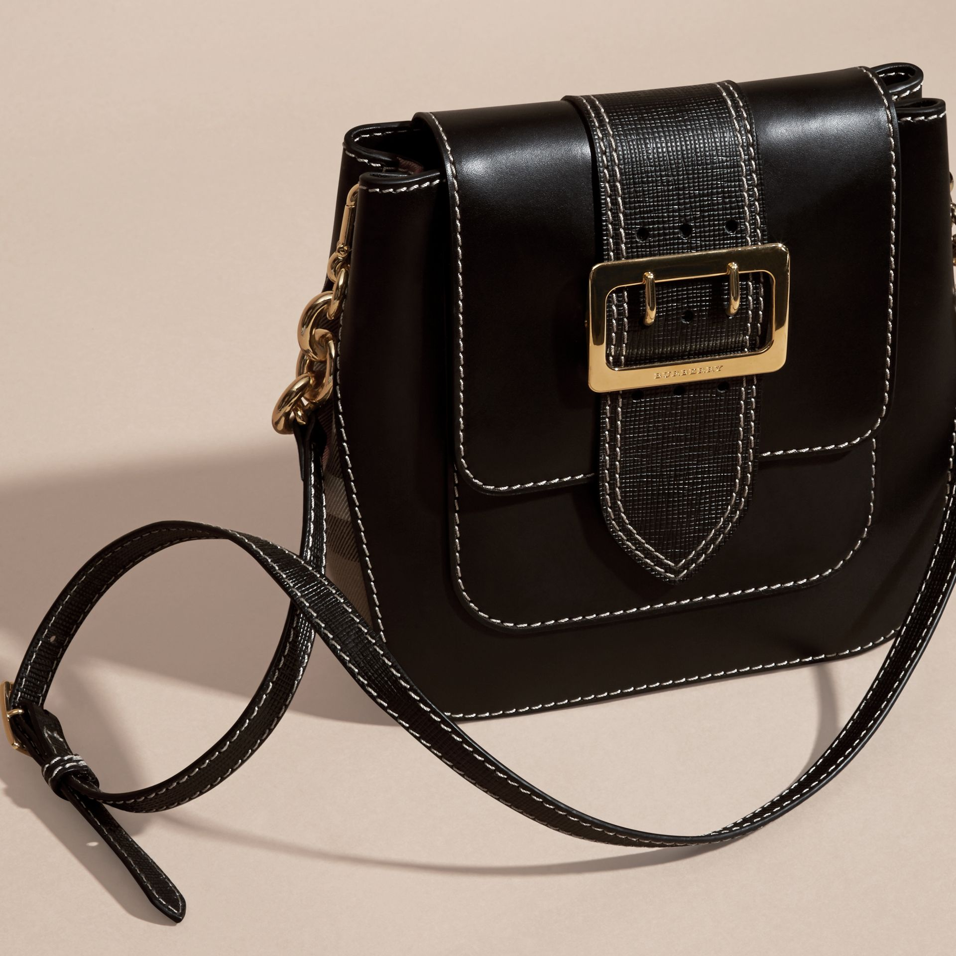 Black The Medium Buckle Bag – Square in Leather and House Check - gallery image 5
