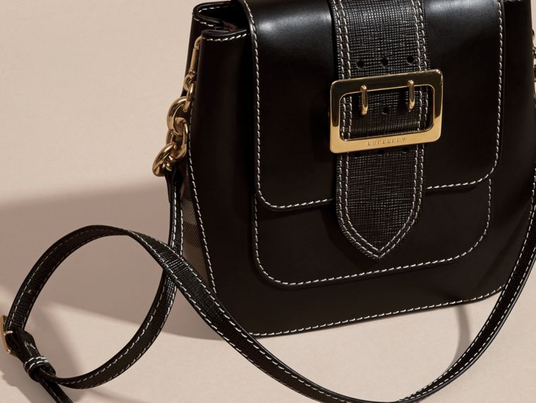 Black The Medium Buckle Bag – Square in Leather and House Check - cell image 4