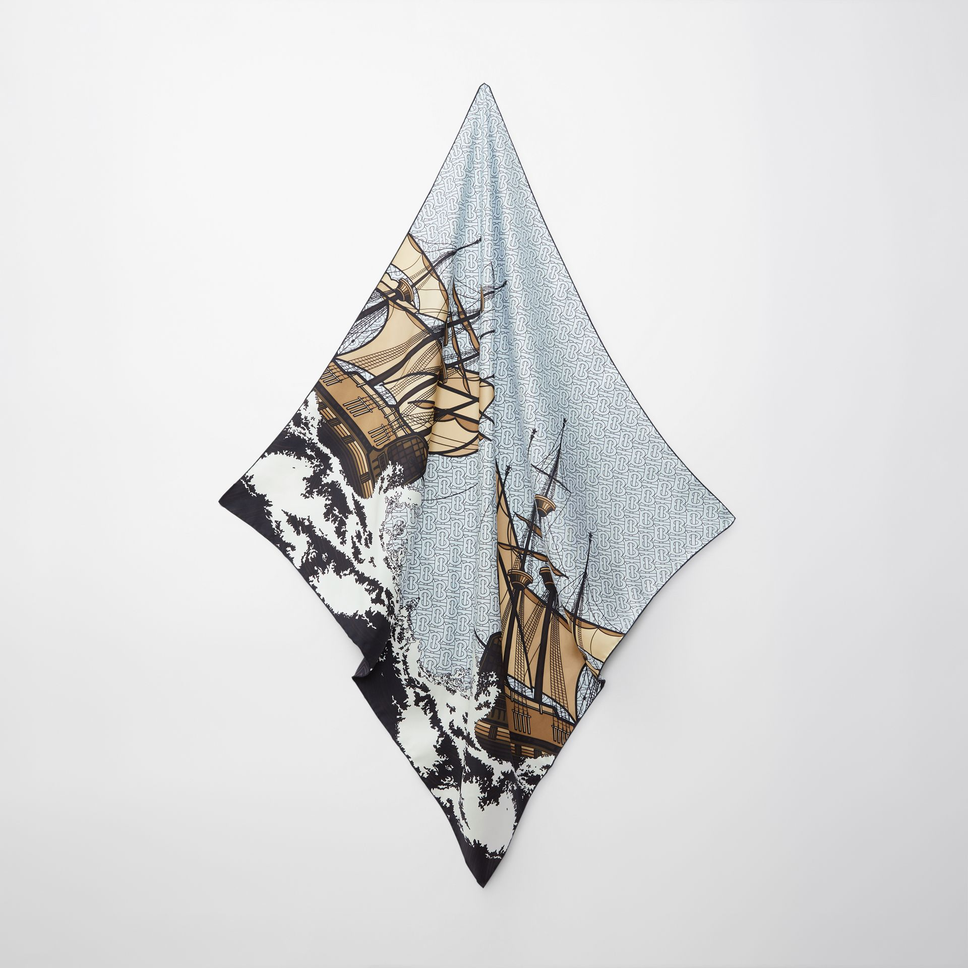 Ship Print Silk Twill Square Scarf in Pale Blue | Burberry - gallery image 3