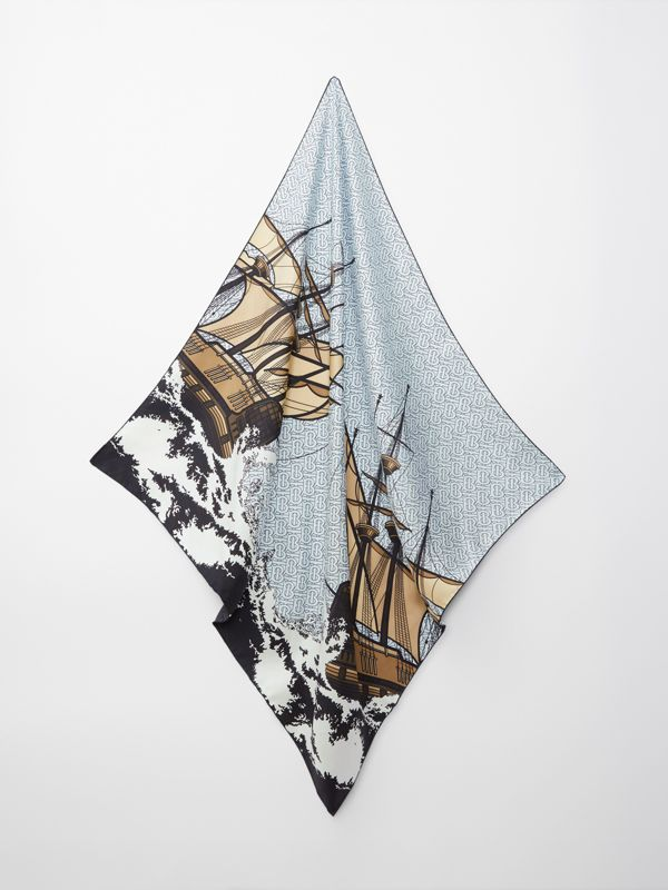 Ship Print Silk Twill Square Scarf in Pale Blue | Burberry - cell image 3