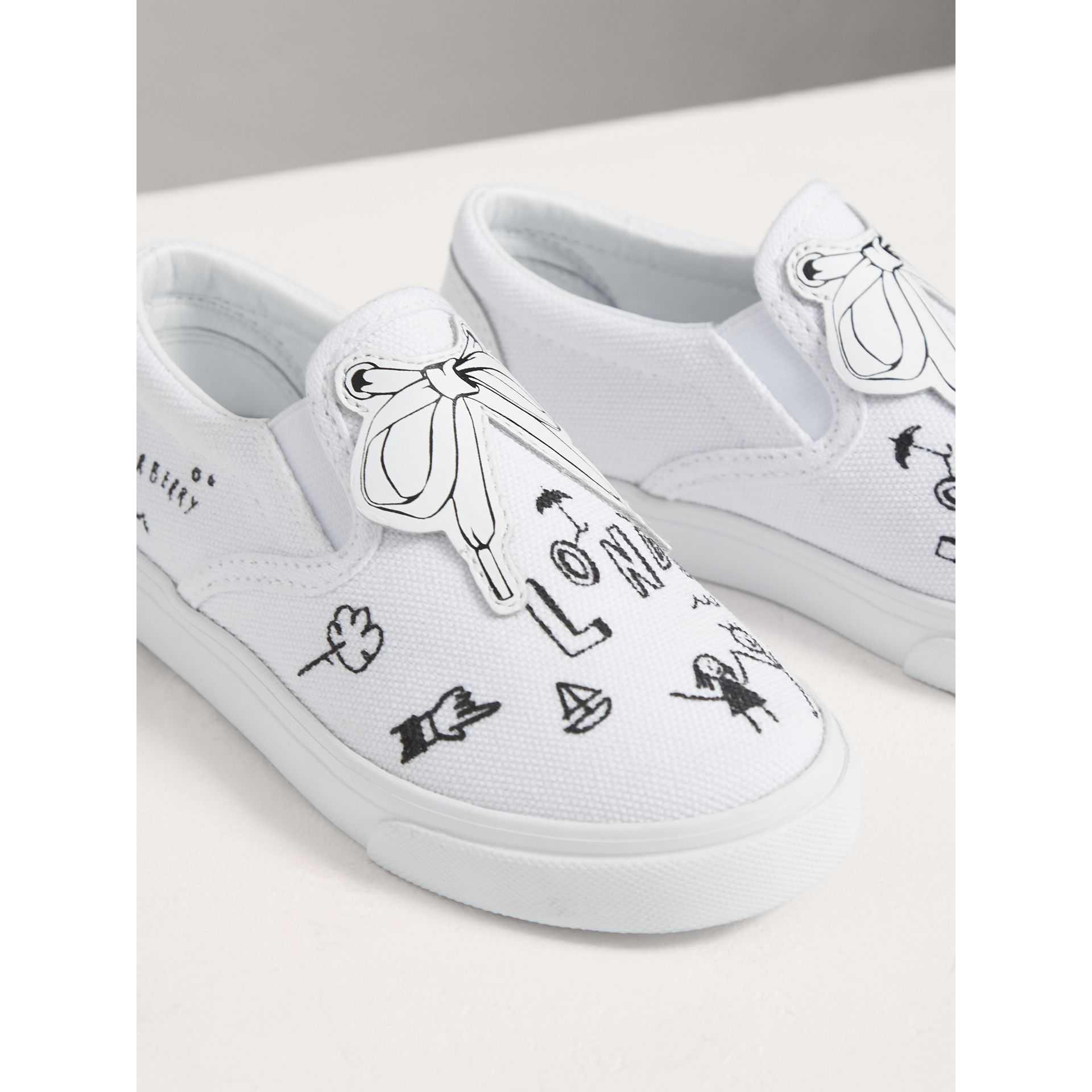Doodle Print Slip-on Trainers in Optic White | Burberry United Kingdom - gallery image 3