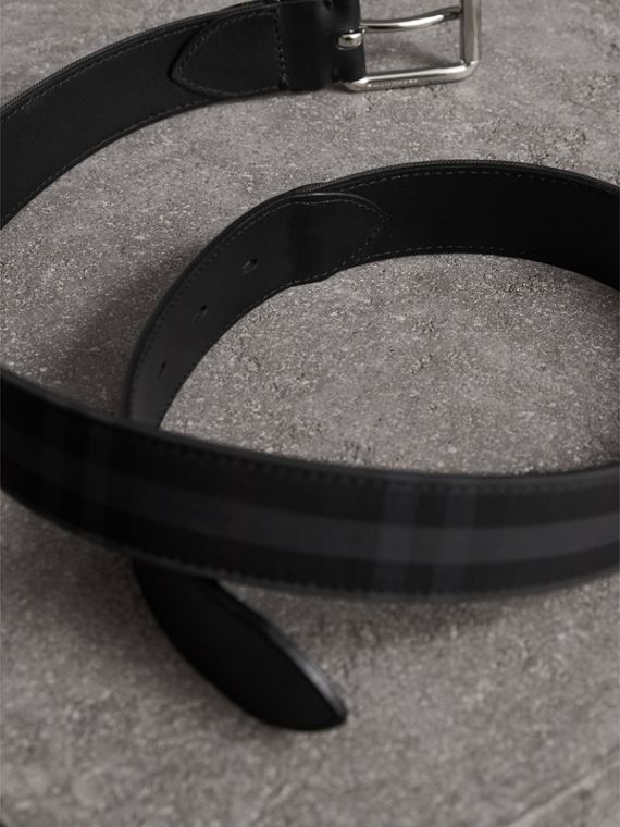 Horseferry Check and Leather Belt in Charcoal/black - Men | Burberry - cell image 3