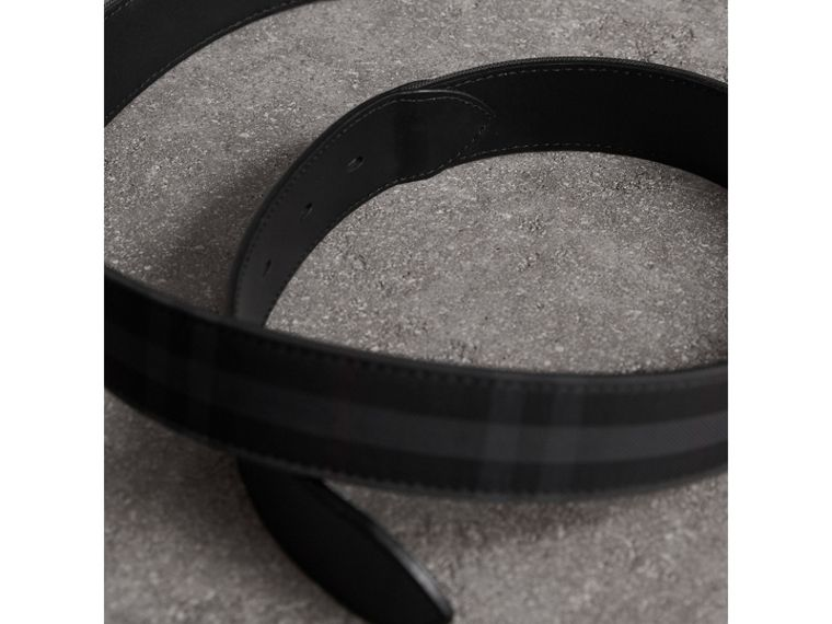 Horseferry Check and Leather Belt in Charcoal/black - Men | Burberry - cell image 2