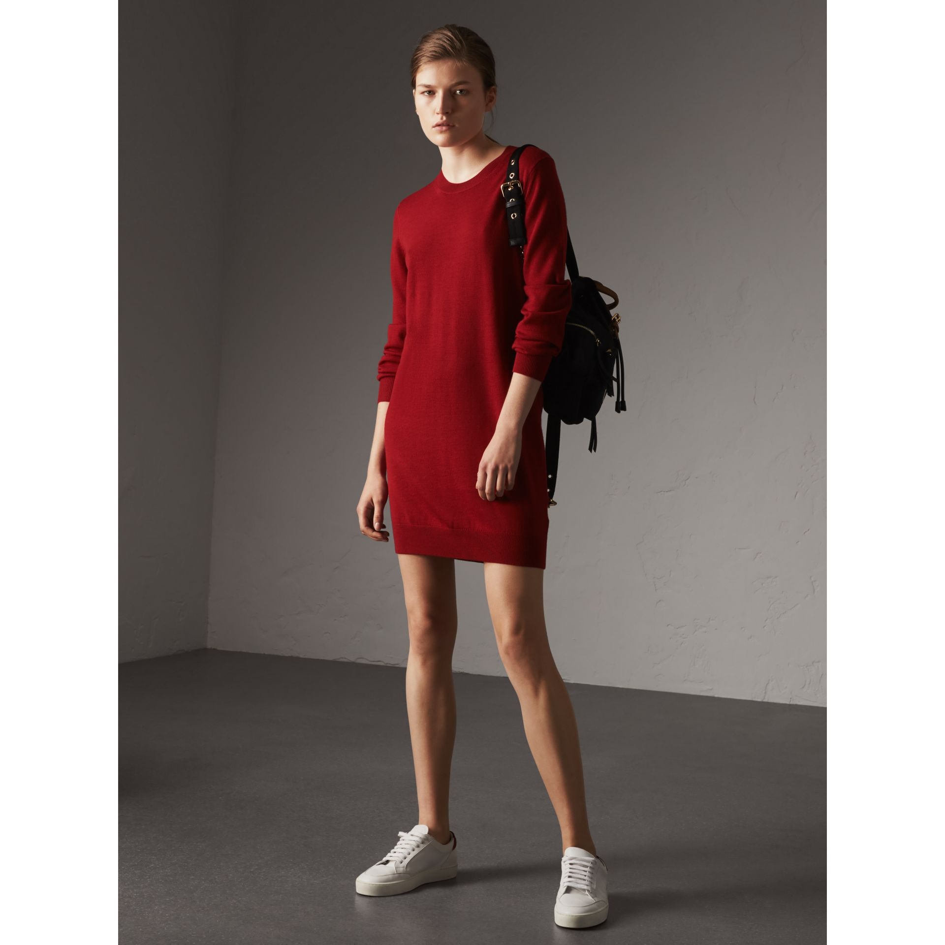 Check Elbow Detail Merino Wool Sweater Dress in Parade Red - Women | Burberry United Kingdom - gallery image 3