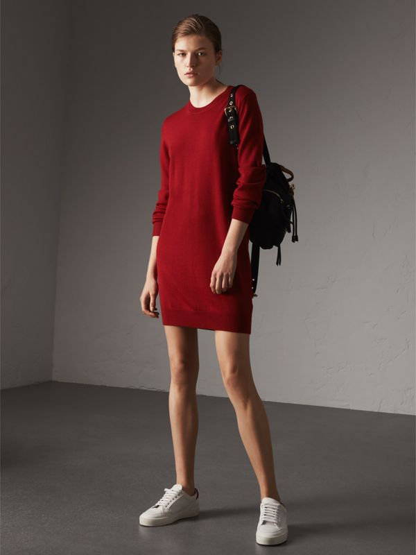 Check Elbow Detail Merino Wool Sweater Dress in Parade Red - Women | Burberry - cell image 2