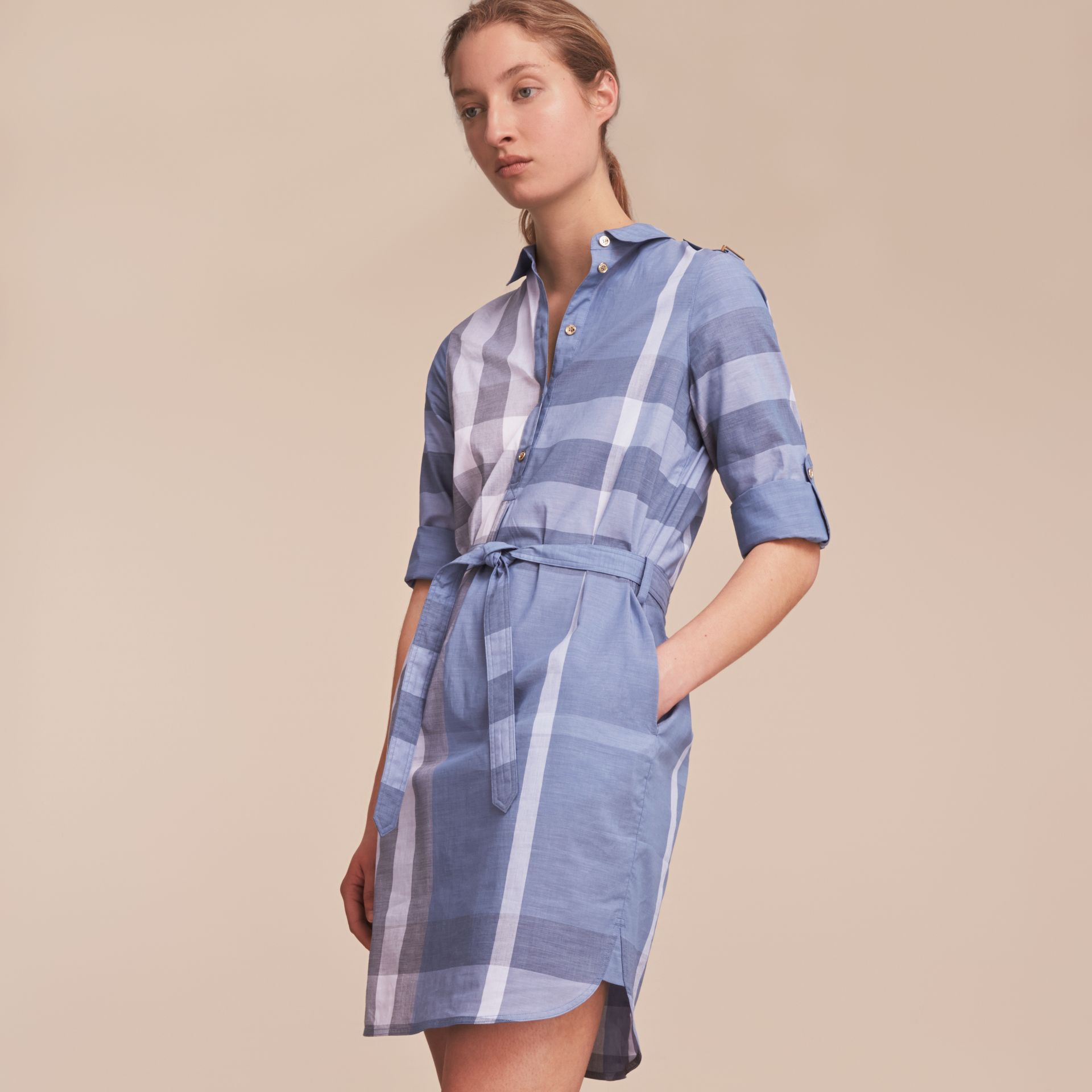 Tie-waist Check Cotton Shirt Dress - gallery image 6