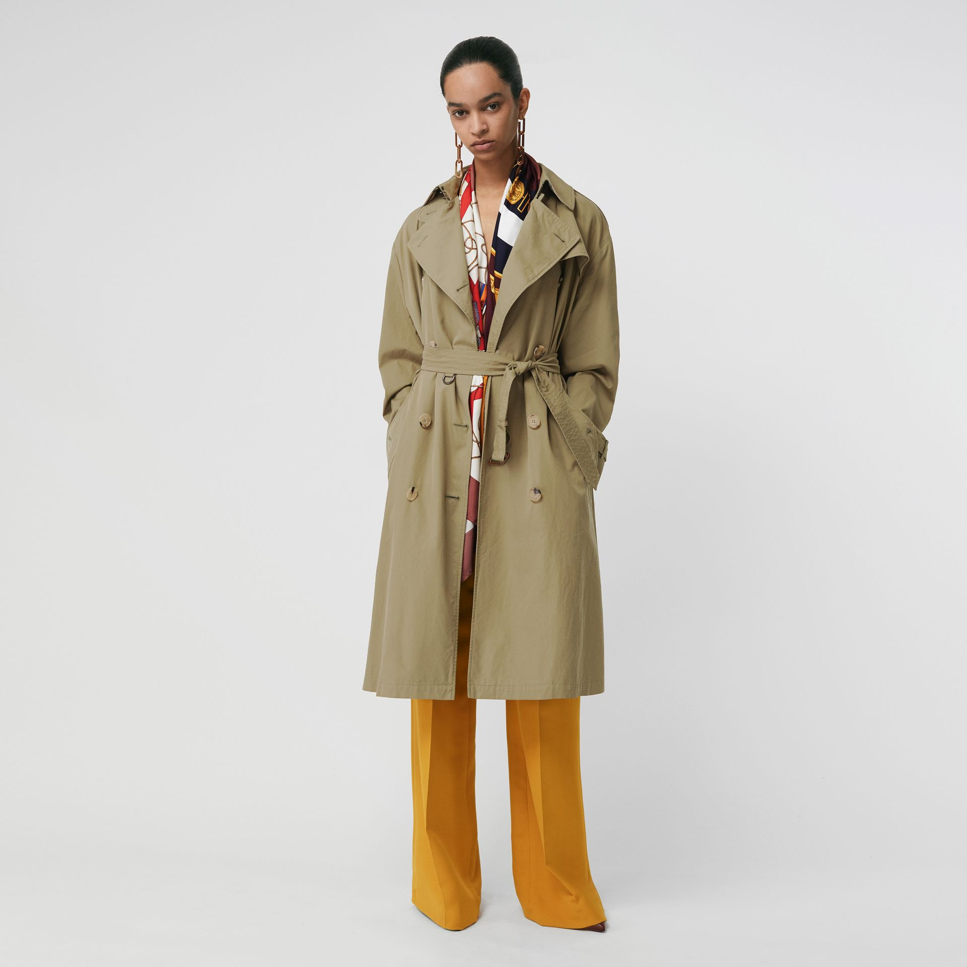 Relaxed Fit Tropical Gabardine Trench Coat in Vintage Green - Women | Burberry United States - gallery image 0