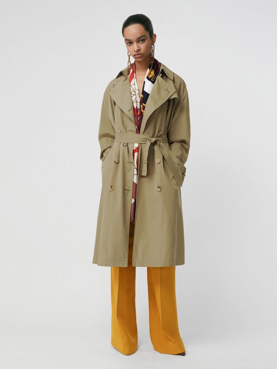 Relaxed Fit Tropical Gabardine Trench Coat in Vintage Green