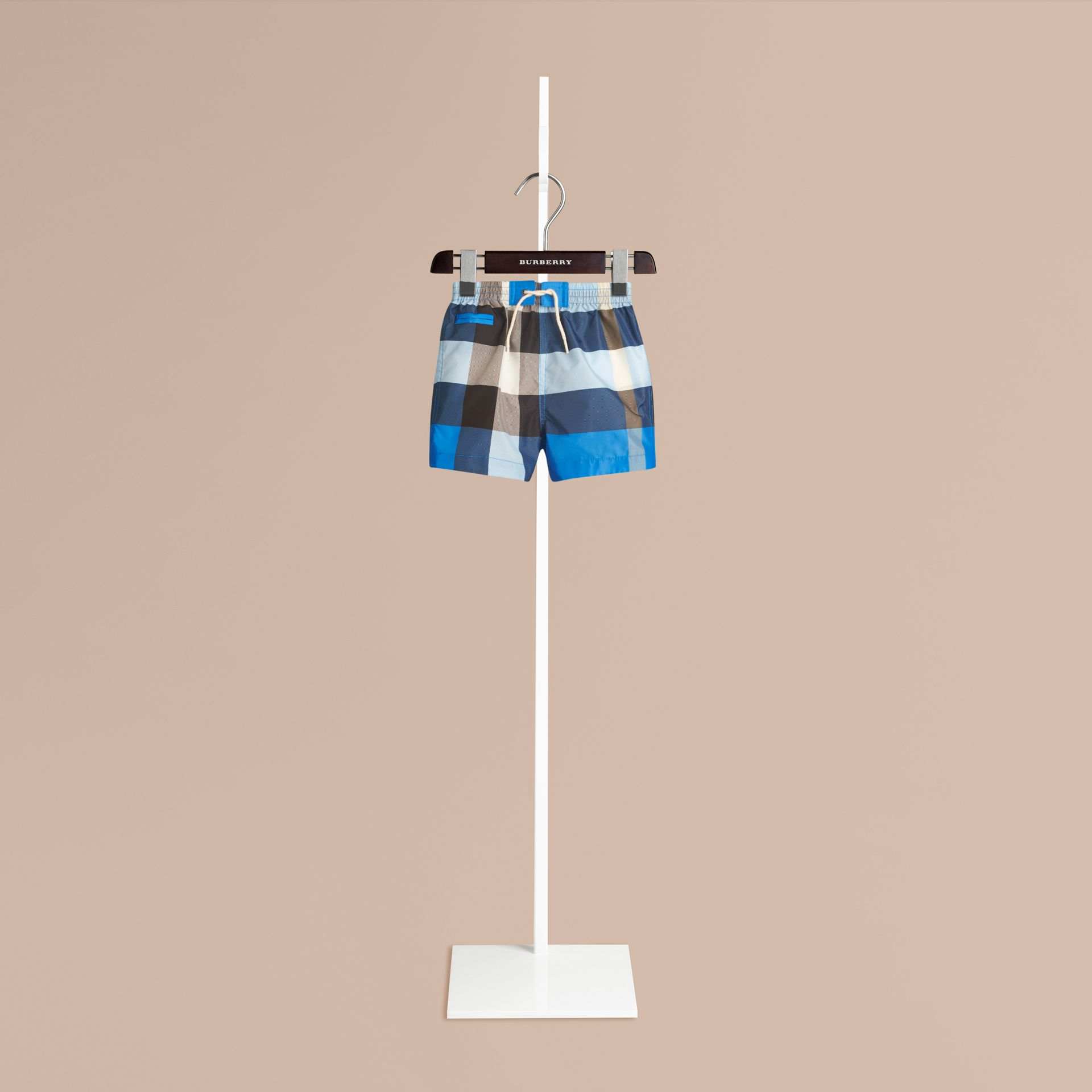 Check Swim Shorts in Cerulean Blue | Burberry Canada - gallery image 0