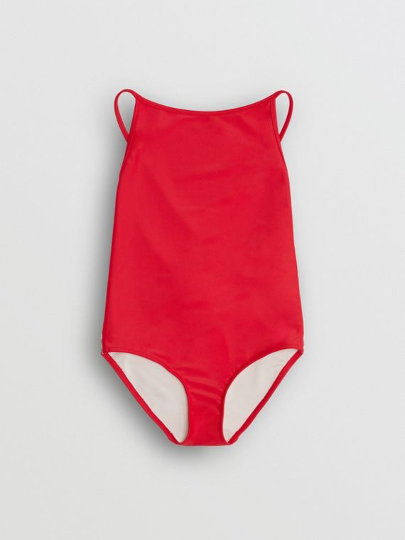 Check Detail One-piece Swimsuit in Poppy Red