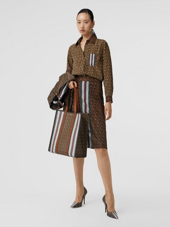Monogram Stripe Print Silk Skirt in Bridle Brown