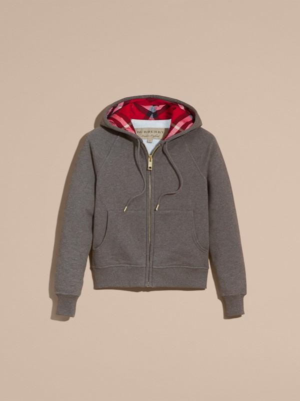 Hooded Zip-front Cotton Blend  Sweatshirt in Mid Grey Melange - Women | Burberry - cell image 3