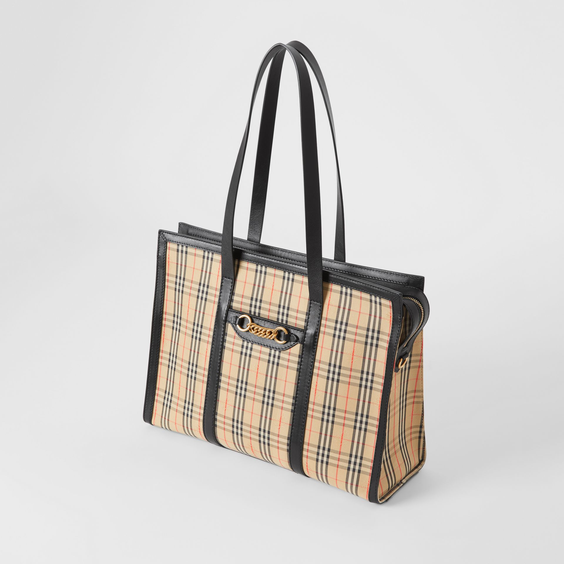 The 1983 Check Link Tote Bag in Black - Women | Burberry United Kingdom - gallery image 3