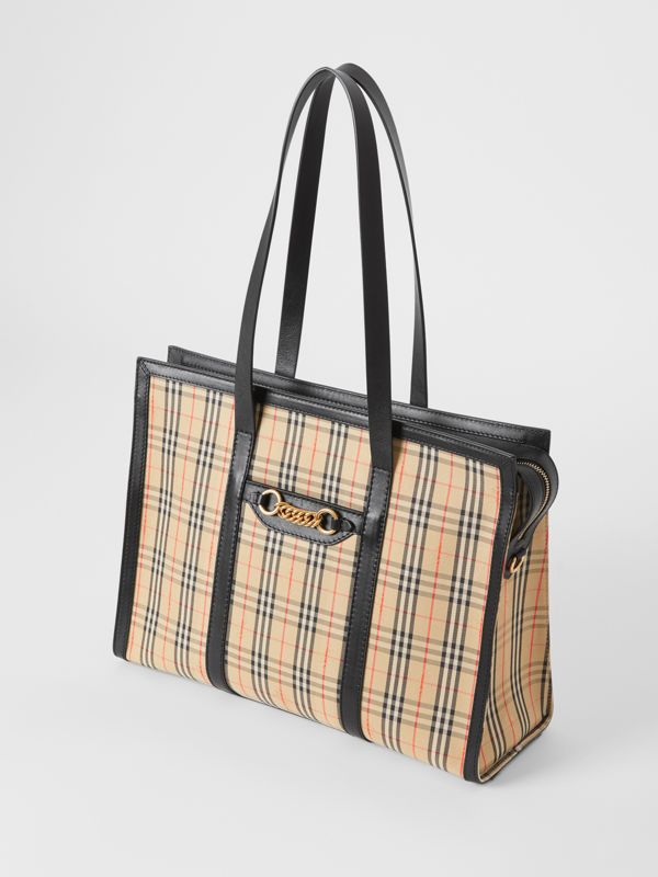 The 1983 Check Link Tote Bag in Black - Women | Burberry United Kingdom - cell image 3