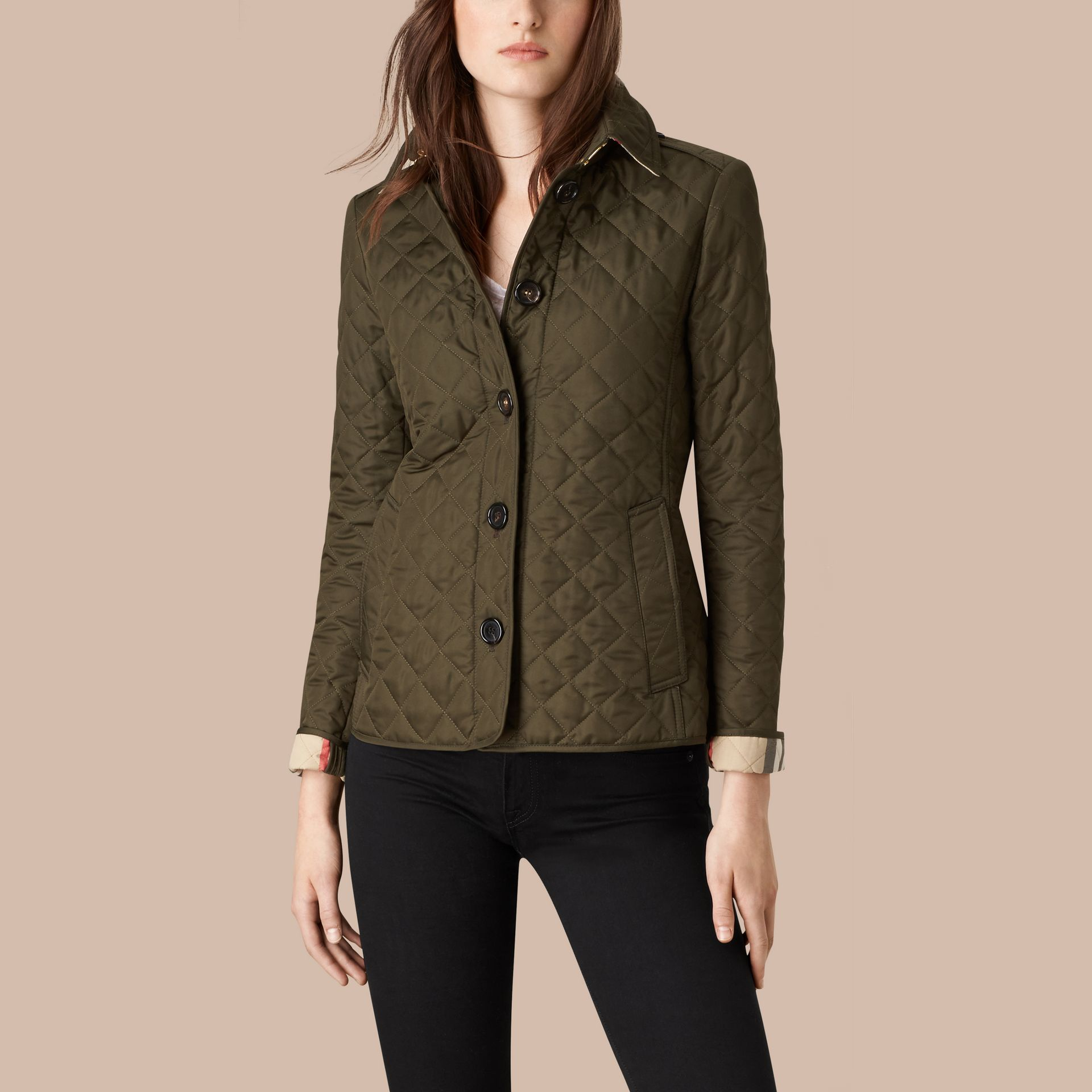Diamond Quilted Jacket in Dark Olive - gallery image 3