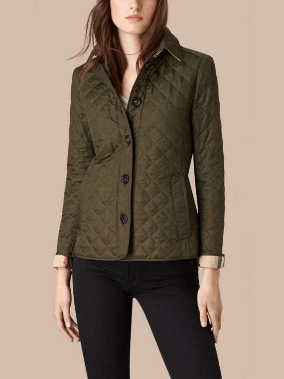 Diamond Quilted Jacket in Dark Olive - cell image 2