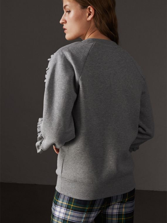 Ruffle-sleeve Sweatshirt in Pale Grey Melange - Women | Burberry - cell image 2
