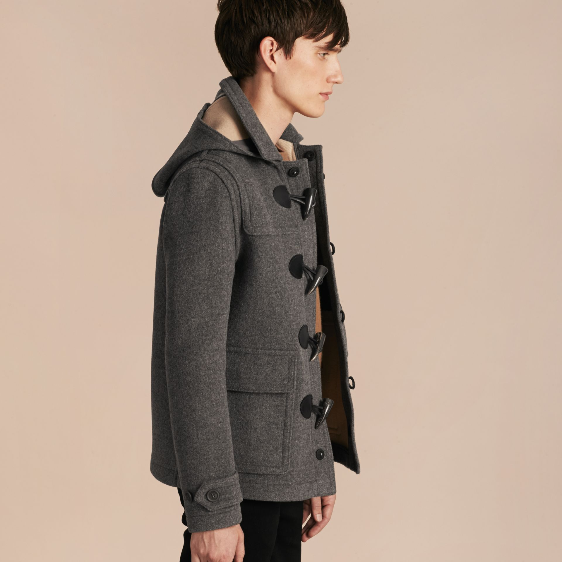Mid grey melange Wool Detachable Hood Duffle Jacket - gallery image 7