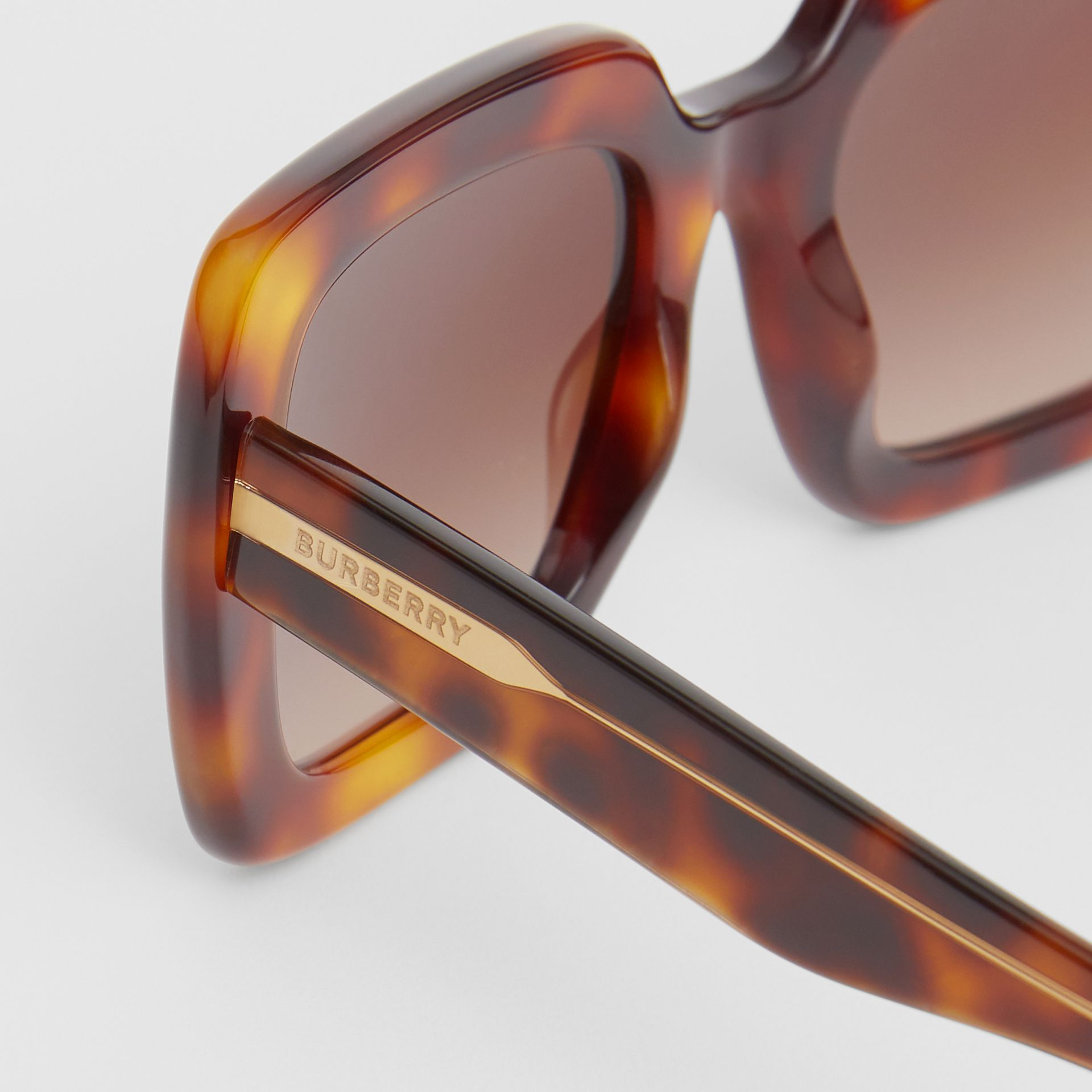 Oversized Square Frame Sunglasses in Tortoiseshell - Women | Burberry Singapore - gallery image 1