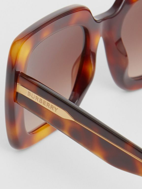 Oversized Square Frame Sunglasses in Tortoiseshell - Women | Burberry United States - cell image 1