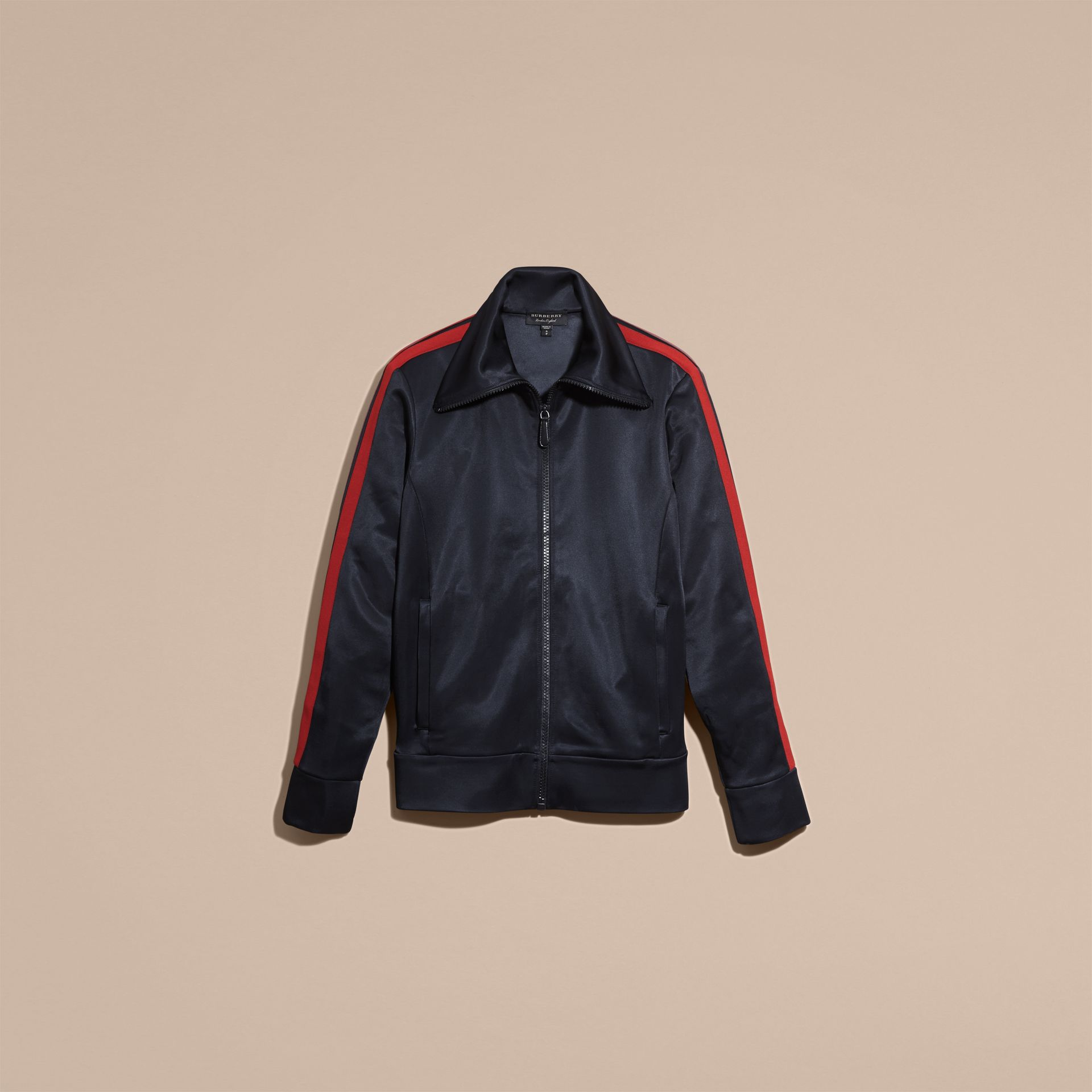 Navy High-shine Technical Track Jacket - gallery image 4