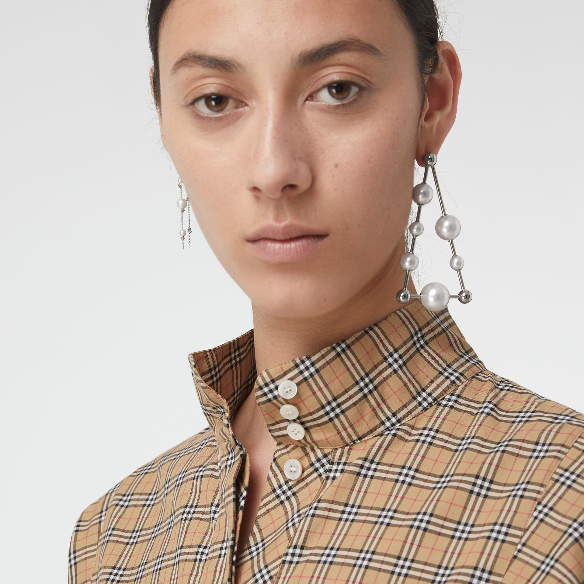 Check Cotton Tie-waist Shirt Dress in Antique Yellow - Women | Burberry Australia - gallery image 1
