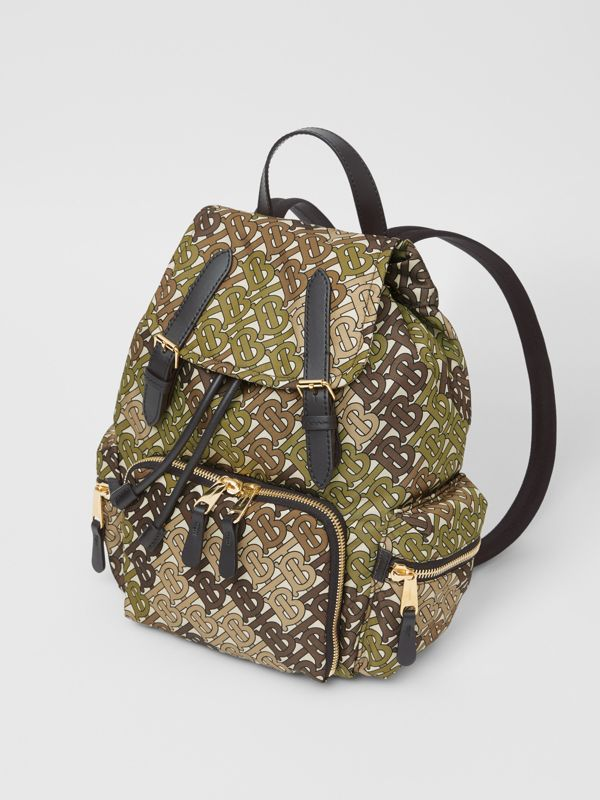 The Medium Rucksack in Monogram Print Nylon in Khaki Green - Women | Burberry - cell image 3