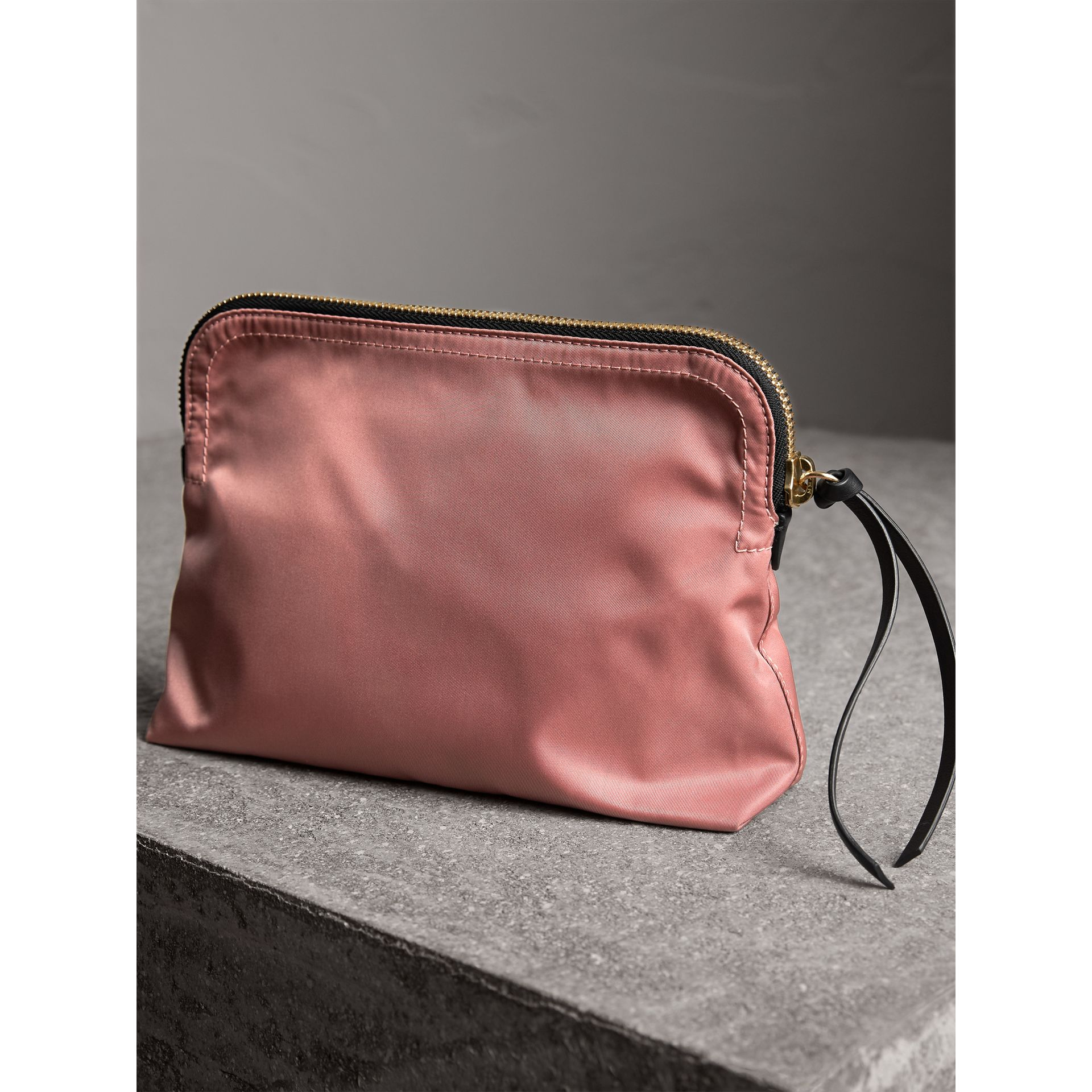Large Zip-top Technical Nylon Pouch in Mauve Pink - Women | Burberry - gallery image 4