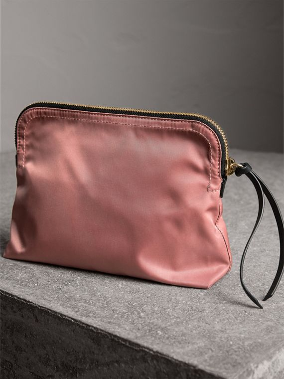Large Zip-top Technical Nylon Pouch in Mauve Pink - Women | Burberry Australia - cell image 3