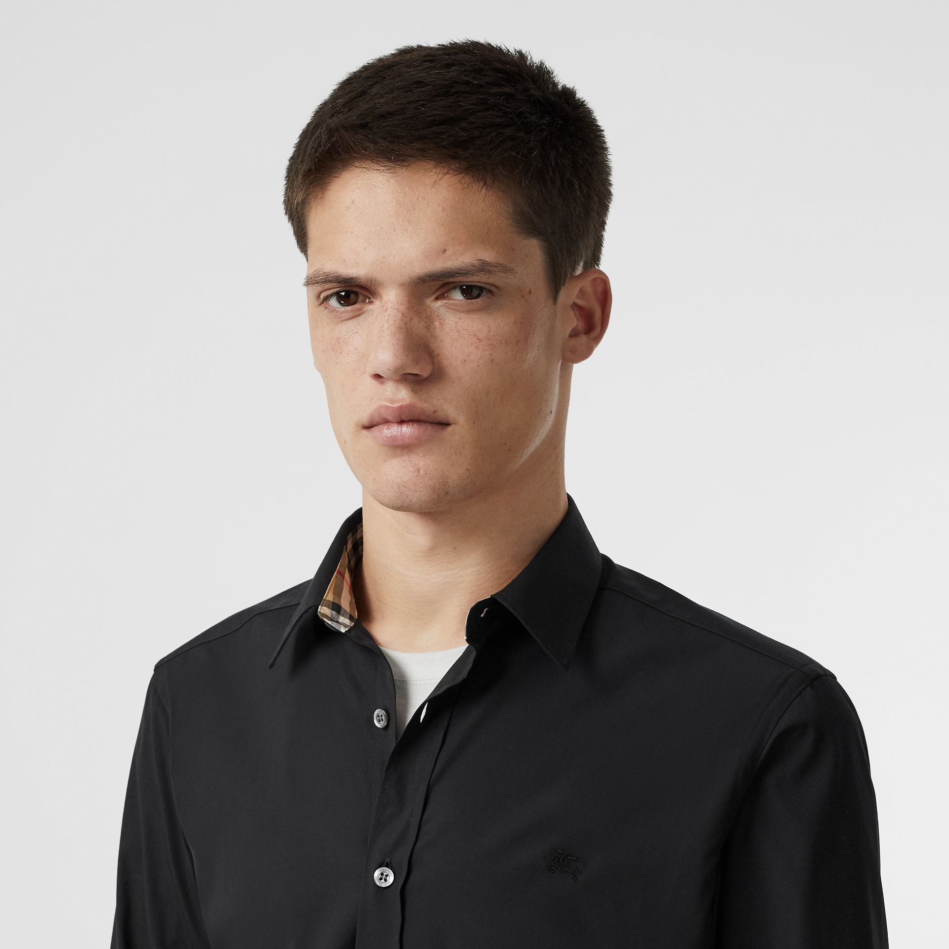 Stretch Cotton Poplin Shirt in Black - Men | Burberry - gallery image 1