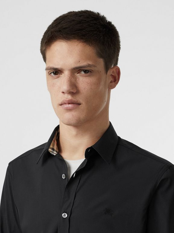 Stretch Cotton Poplin Shirt in Black - Men | Burberry United States - cell image 1