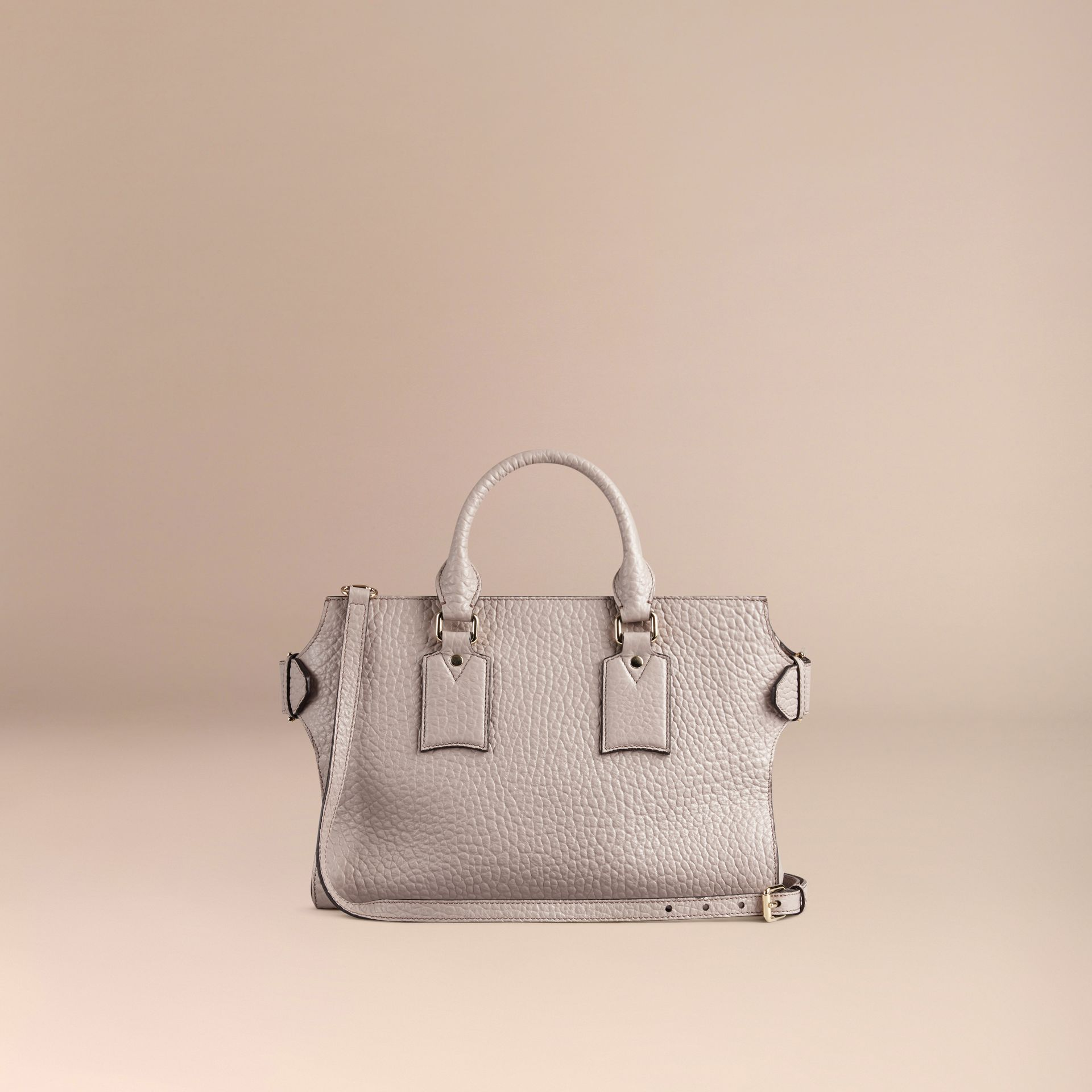 Pale grey The Medium Clifton in Signature Grain Leather Pale Grey - gallery image 4