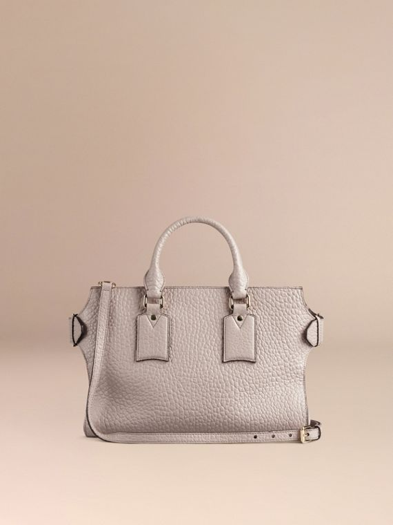 Pale grey The Medium Clifton in Signature Grain Leather Pale Grey - cell image 3