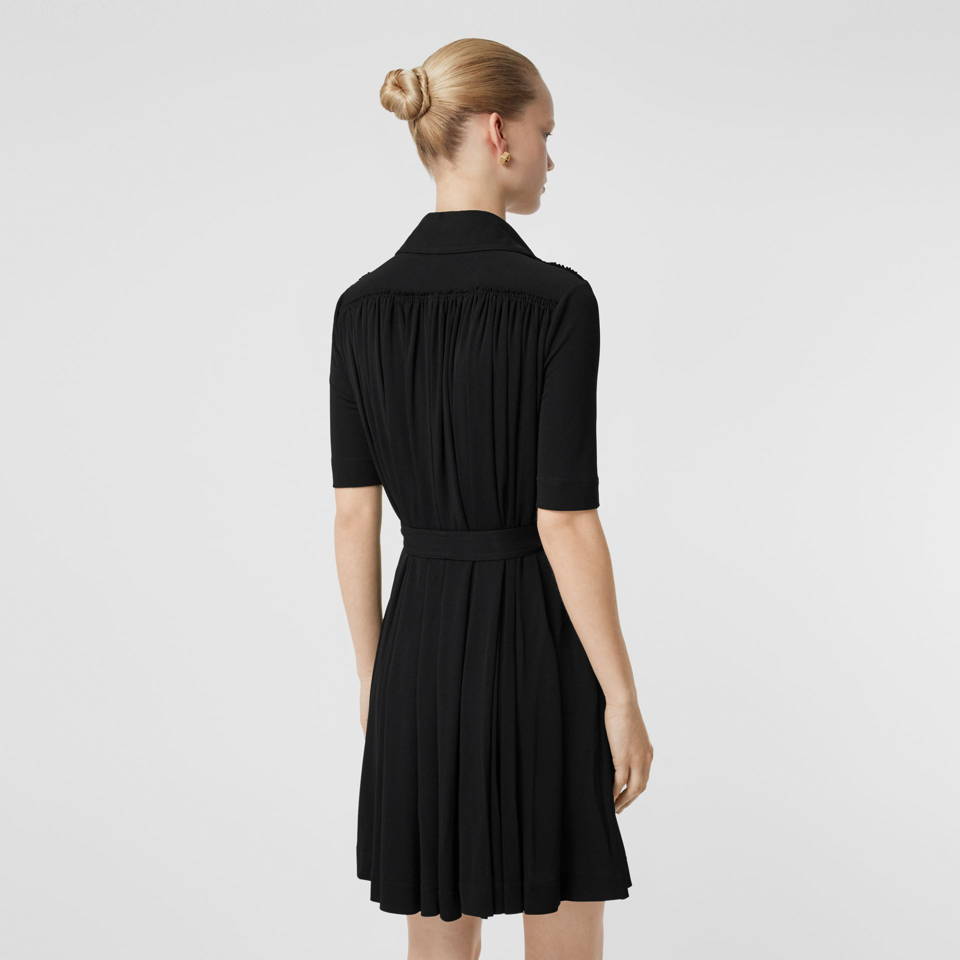 Short-sleeve Gathered Jersey Dress in Black - Women | Burberry - gallery image 2