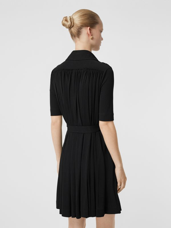 Short-sleeve Gathered Jersey Dress in Black - Women | Burberry Canada - cell image 2
