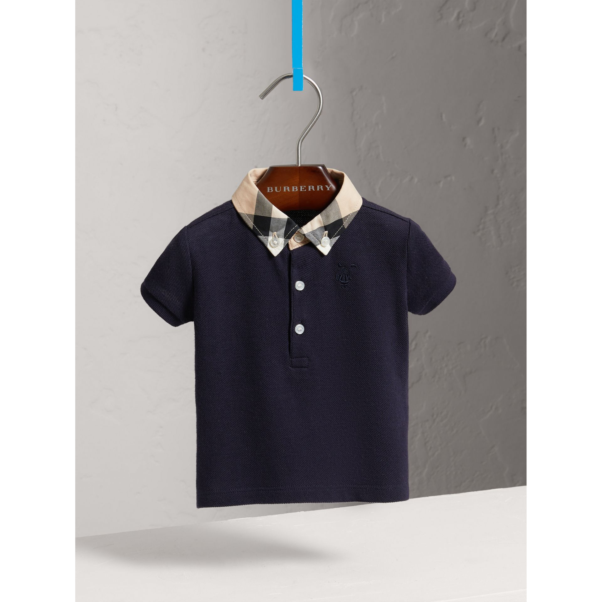 Check Collar Cotton Polo Shirt in True Navy - Children | Burberry - gallery image 0