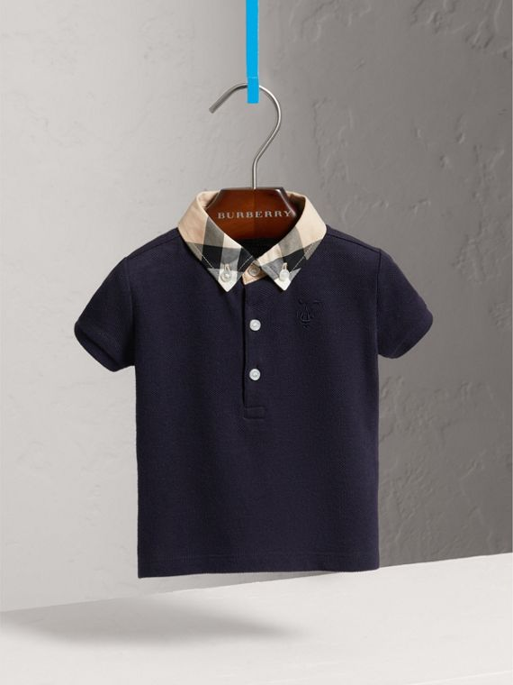 Check Collar Cotton Polo Shirt in True Navy