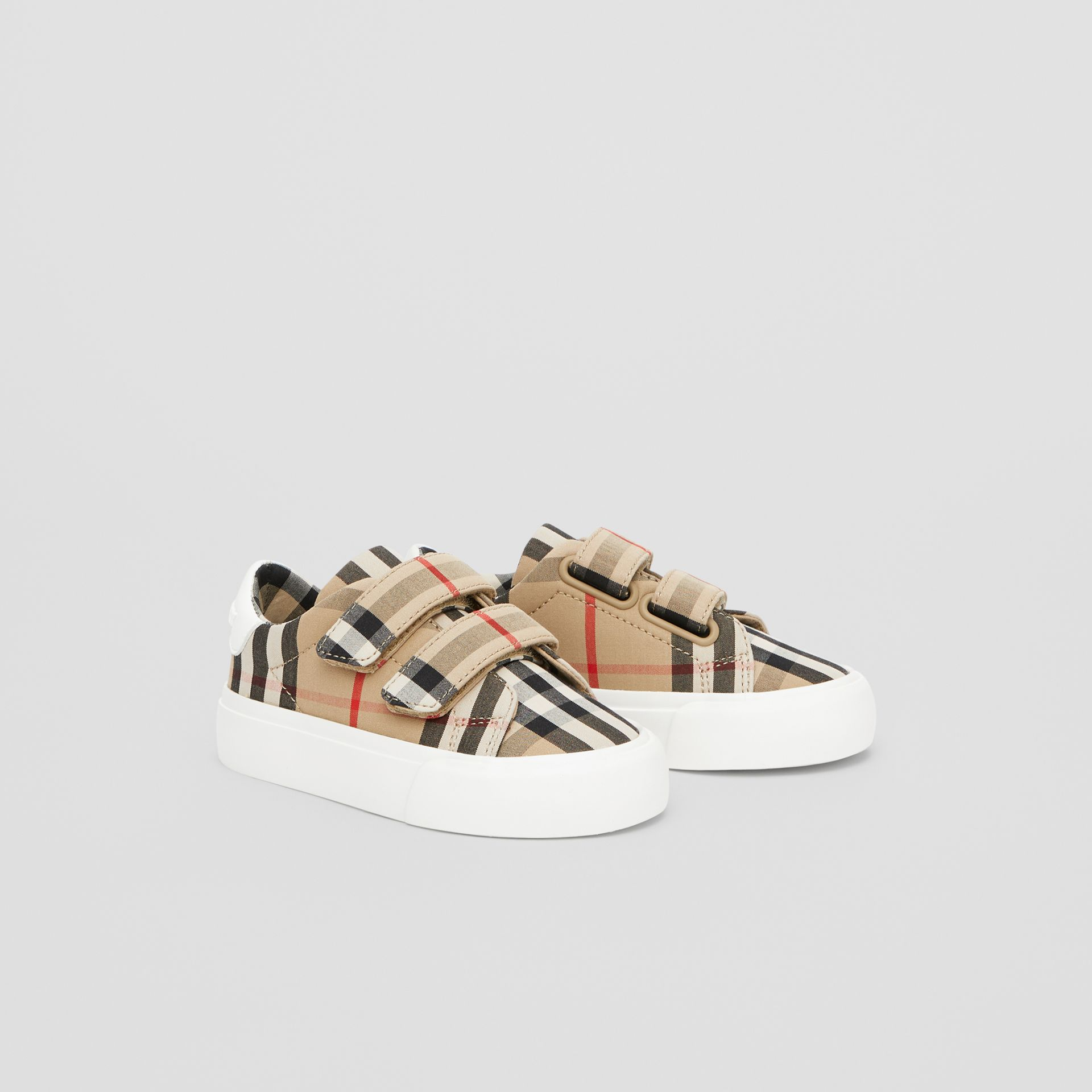 Vintage Check Cotton Sneakers in Archive Beige - Children | Burberry - gallery image 4