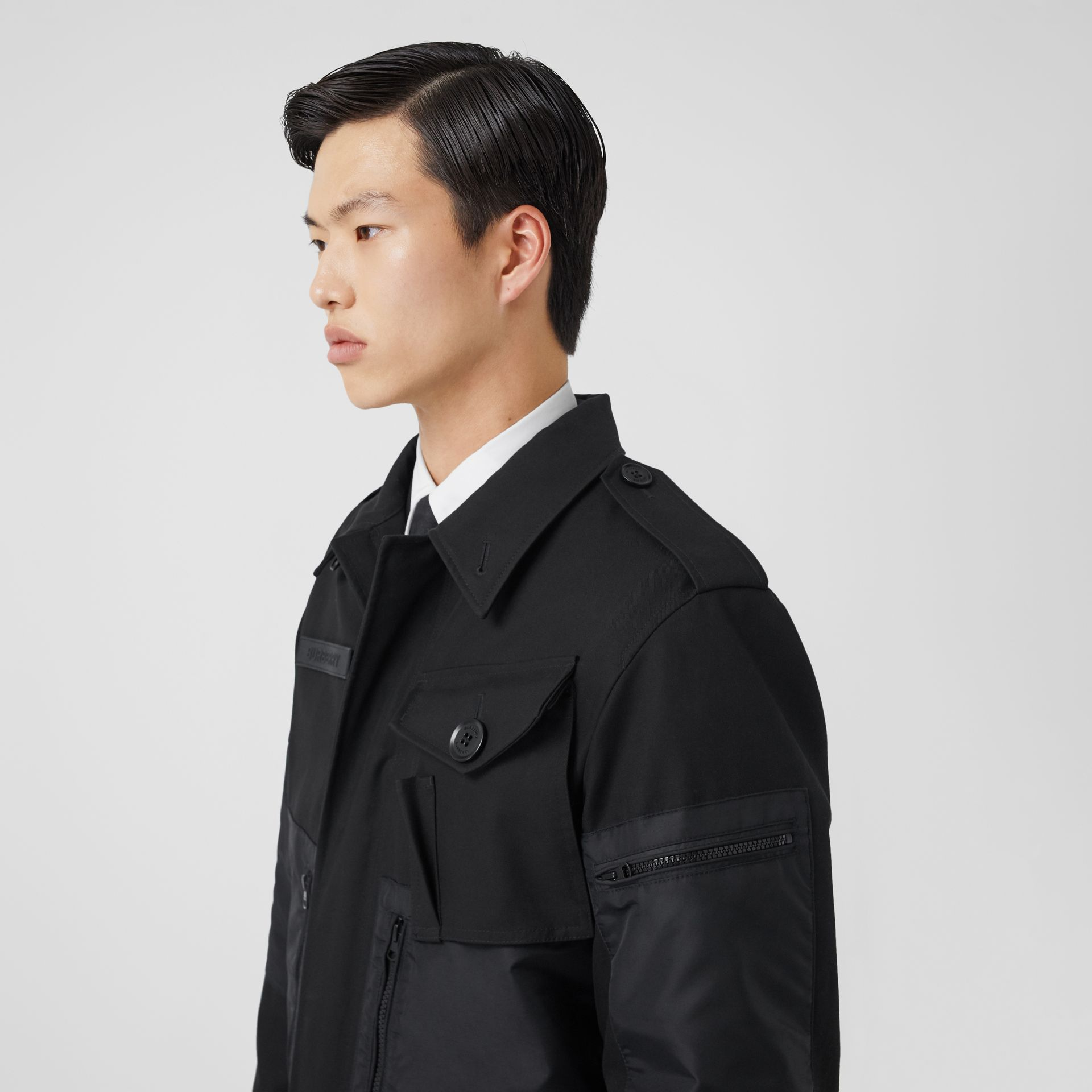 Cotton Gabardine Field Jacket in Black - Men | Burberry - gallery image 4
