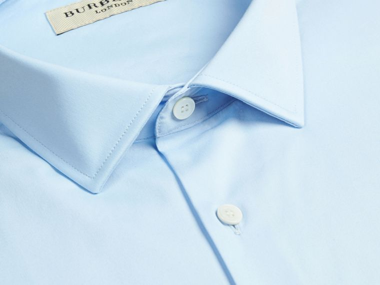 Modern Fit Stretch Cotton Shirt in City Blue - Men | Burberry - cell image 1