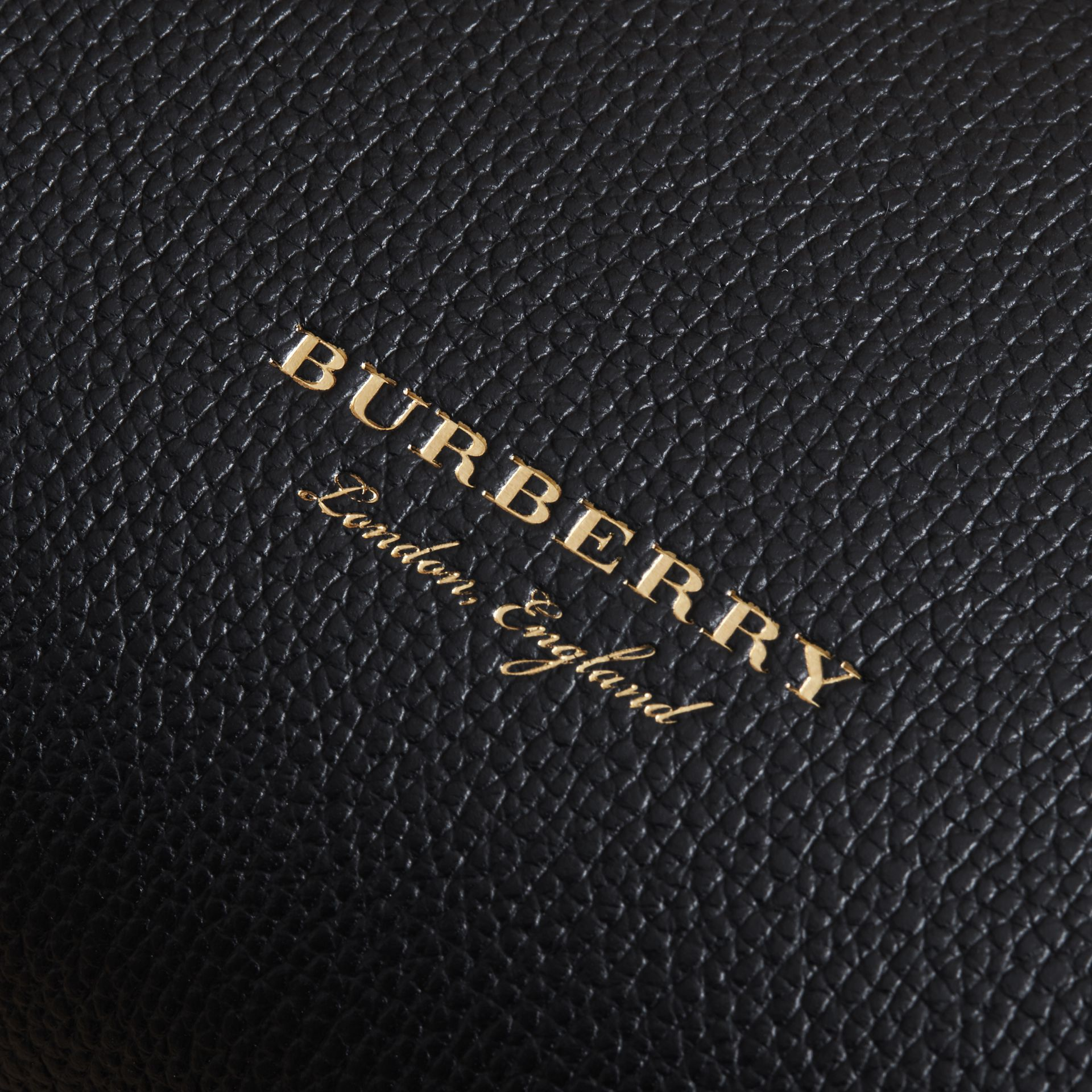 Small Grainy Leather and House Check Tote Bag in Black - Women | Burberry United Kingdom - gallery image 1