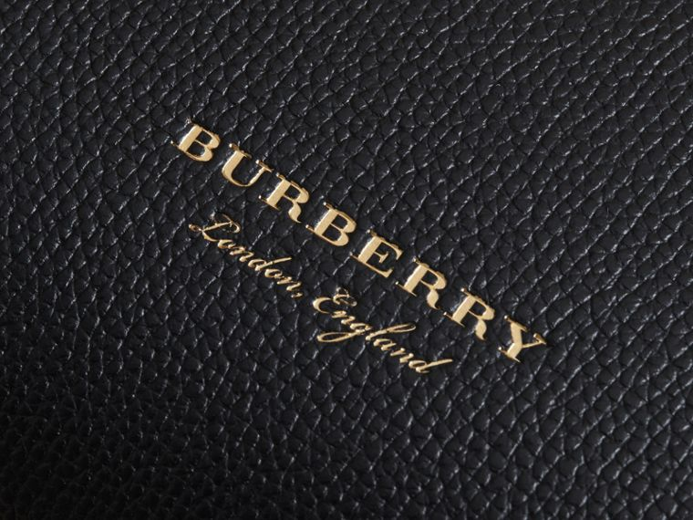 Small Grainy Leather and House Check Tote Bag in Black - Women | Burberry United Kingdom - cell image 1