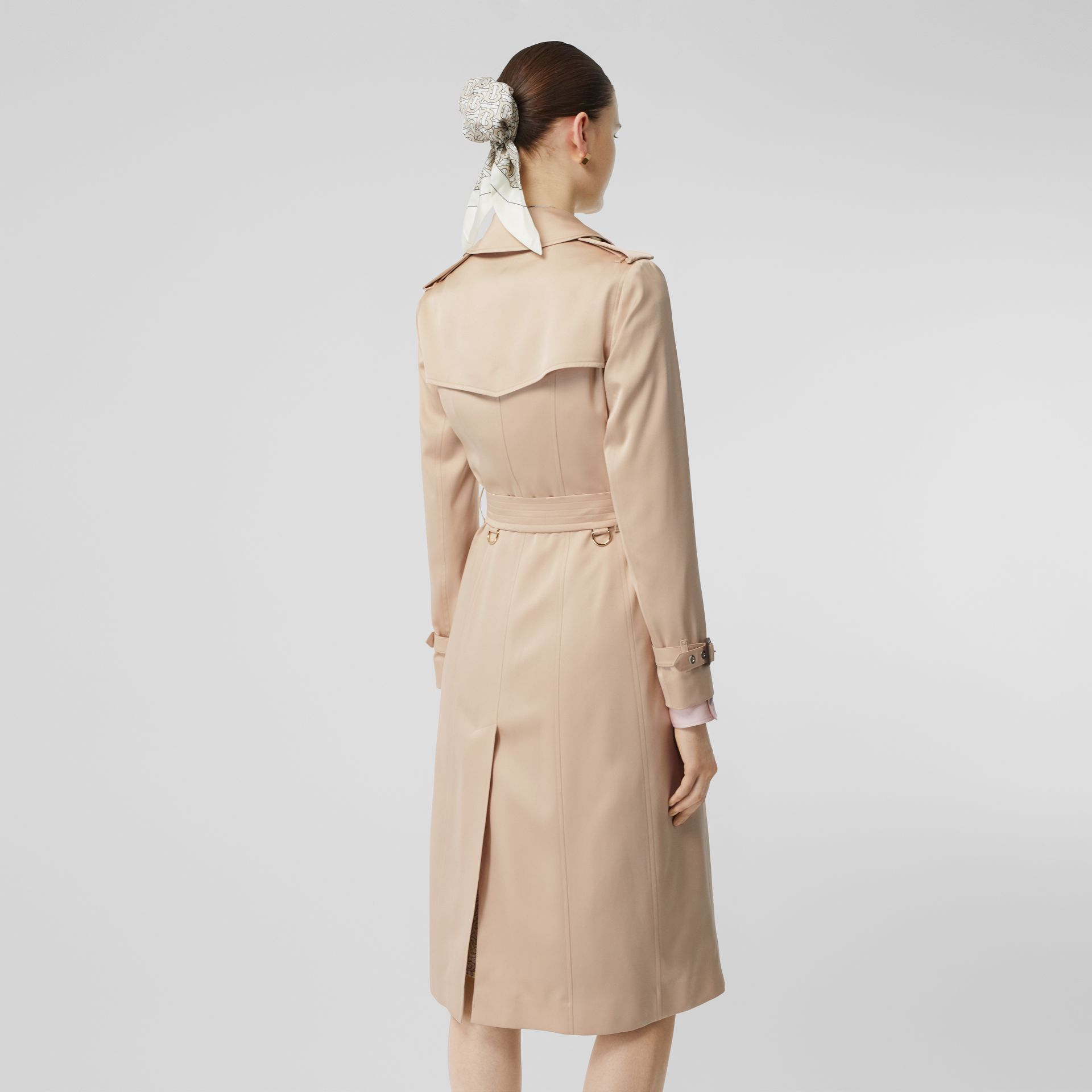 Silk Satin Trench Coat in Pale Blush - Women | Burberry - gallery image 2