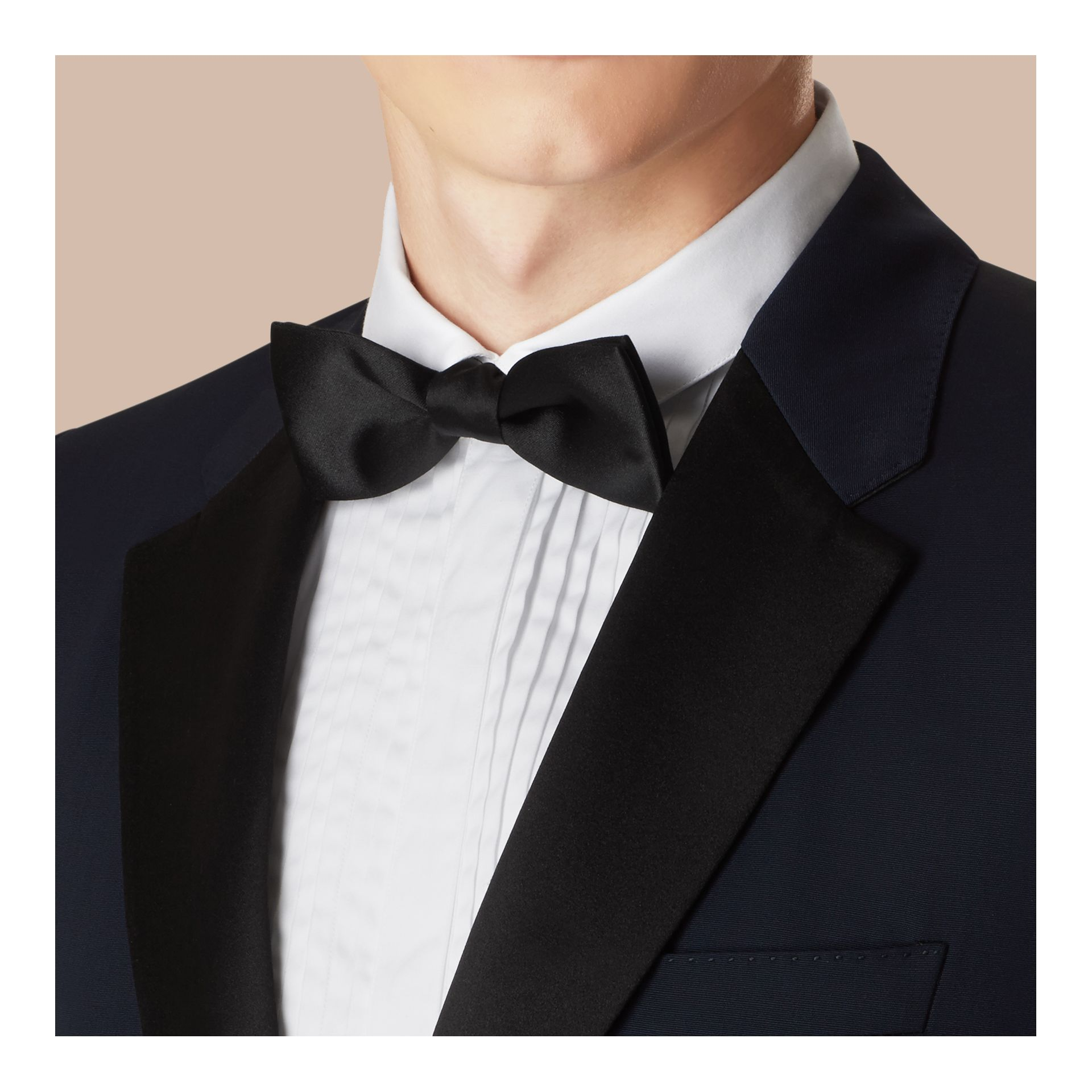 Navy Modern Fit Virgin Wool Half-canvas Tuxedo - gallery image 5