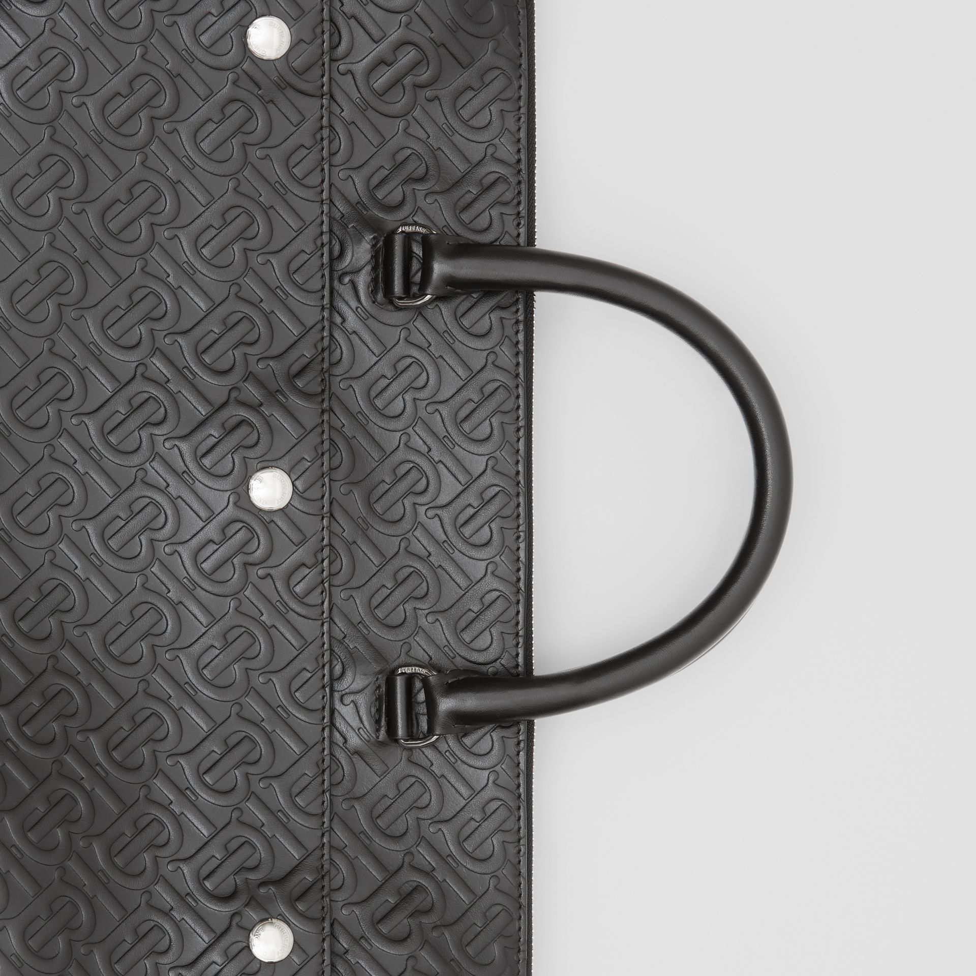 Triple Stud Monogram Leather Briefcase in Black - Men | Burberry - gallery image 1
