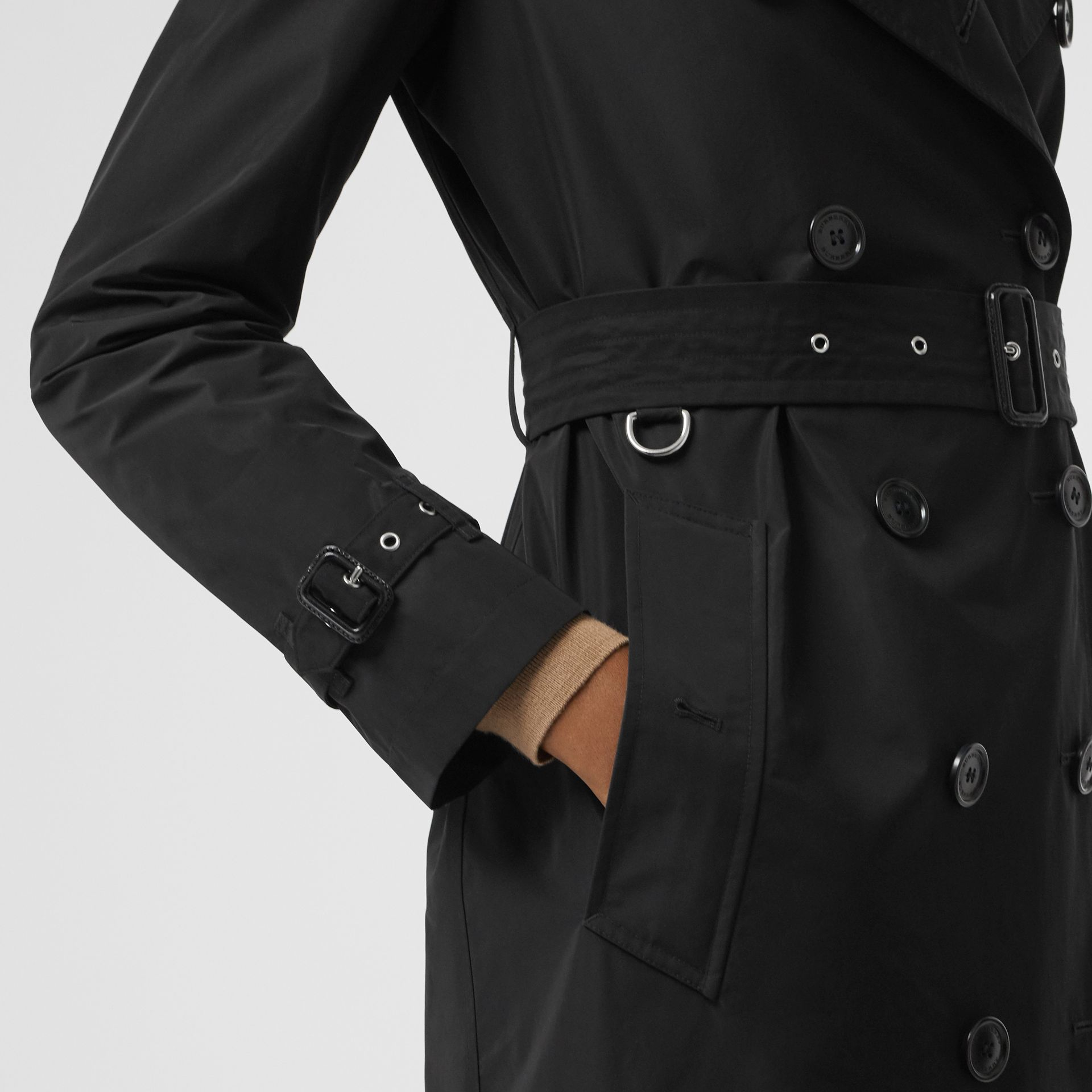 Detachable Hood Taffeta Trench Coat in Black - Women | Burberry Australia - gallery image 4